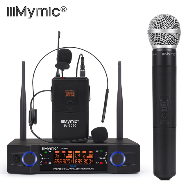 IU 302C UHF 600 700MHz ثنائي القناة (تردد واحد) Bodypack + التلبيب + سماعة + نظام ميكروفون لاسلكي محمول باليد