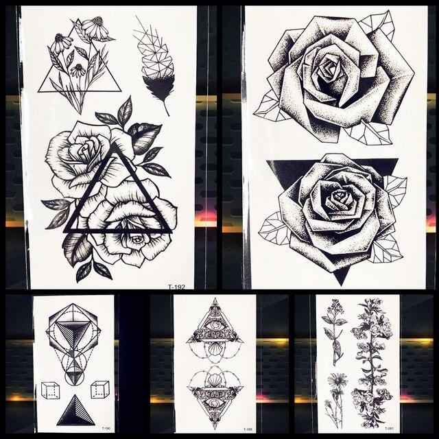25 Motif Geometrie Noir Rose Fleur Tatouage Temporaire Femmes Fille