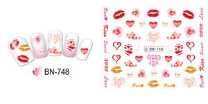 Image 5 - 12 упак./лот переводка NAIL ART наклейки для ногтей на День святого Валентина Свадебный поцелуй сердце губы, с цветочным принтом «розы» со стразами BN745 756