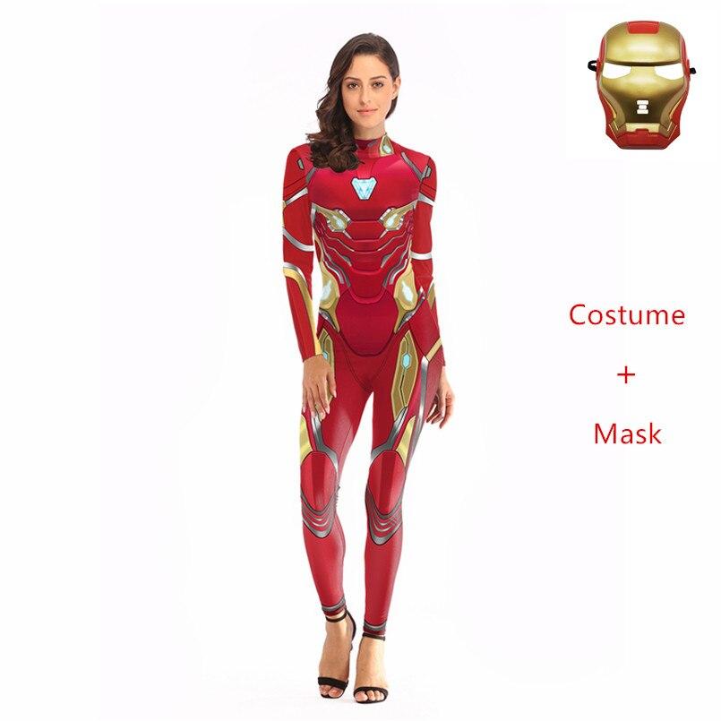 Sex The Avengers 3D Super Hero Captain Marvel Cosplay Iron Man Costume Zipper Ladies Bodysuits Spider Women Iron+mask