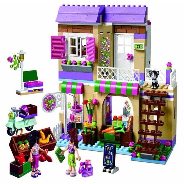 نموذج لبنات البناء BELA 10495 heart lake سوق الطعام 41108 متوافق مع فتاة الأصدقاء الطوب الشكل لعب للأطفال
