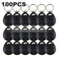 DIYSECUR 100 pçs/lote 125 Khz RFID Cartão Keyfobs Chave Chave Da Porta Para O Sistema de Controle de Acesso RFID Reader Use Preto Livre grátis