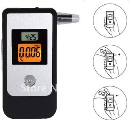 Digitals lcd display breathalyzer breath alcohol tester with 3pcs Mouthpieces free shipping