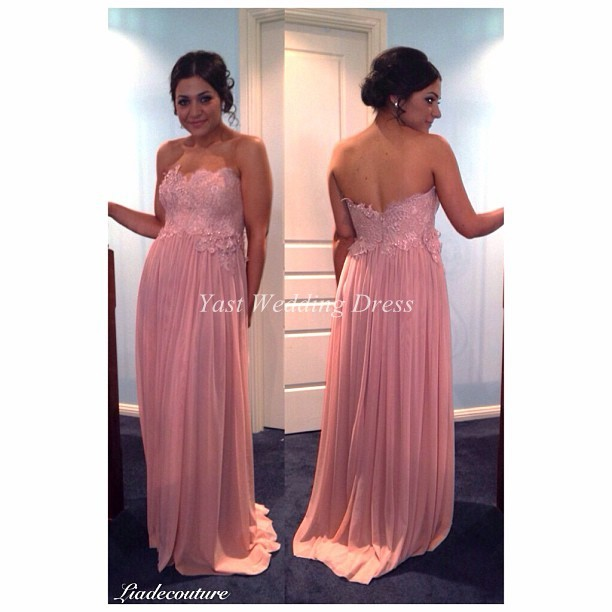 Pink Mint Lavender Bridesmaid Dresses Clic Design Strapless Lace Liques Backless Dresss Handmade