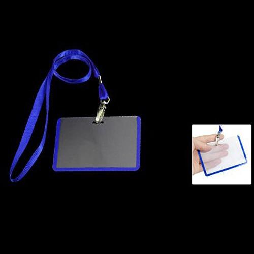 10pack (2 Pcs School Office Blue Lanyard Horizontal B8 ID Name Badge Card Holders 10pcs lot retractable pull badge reel zinc alloy abs plastic id lanyard name tag card badge holder reels