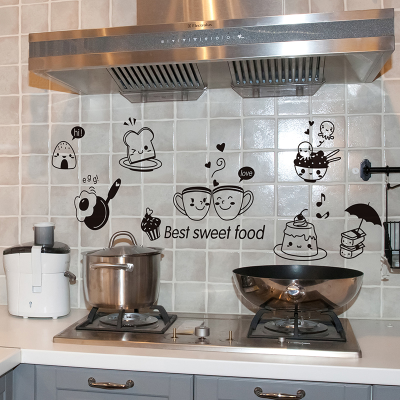 Removable Happy Western Food Wall Stickers Creative DIY Home Decor Decals for Dining Room Water Channel Range Hood Decoration