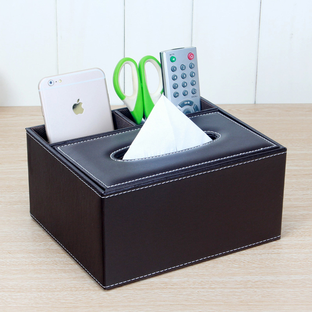 Brand New Office Desk Organizer Black Brown Leather Classic Desk Storage  Case Pencil Holder Stationery Collection