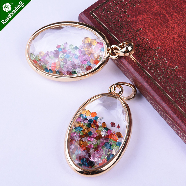2pcs 33x55mm oval locket pendantwith colorful charms insidewith 2pcs 33x55mm oval locket pendantwith colorful charms insidewith pendant bail aloadofball Image collections