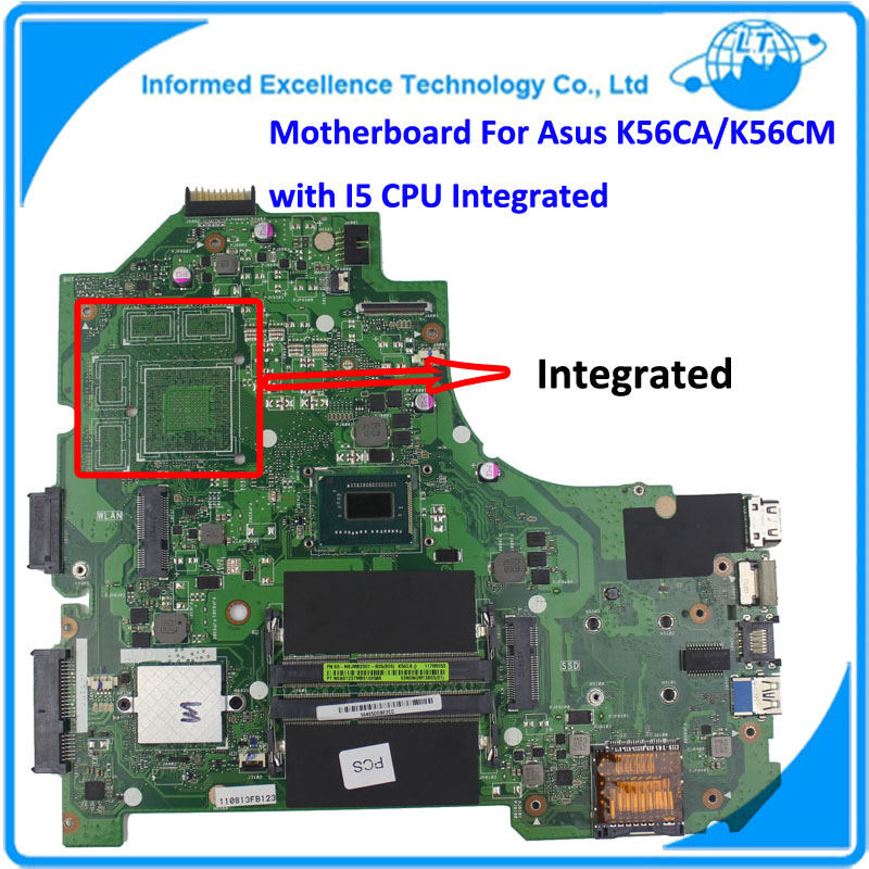 K56CA Laptop Motherboard for Asus i5 CPU K56CM Rev2.0 GM Integrated Mainboard Tested Well Before Shipping for asus x550ea x550ep laptop motherboard cpu e1 2100 e1 2500 4gb non integrated mainboard 100% fully tested
