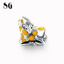 2017 SG  NEW Animal Giraffe Beads Fit Pandora Charms Bracelets Yellow Enamel Disny Jewelry 925 Sterling Silver Jewelry