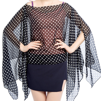 Women summer Sunscreen Scarves Dot printed shawl Poncho Sun Protection Shawl Beach Shawl Bikini Cover lightweight