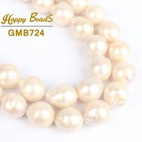 14mm White Baroque Pearl Real Natural Freshwater Round Pearl Loose Beads For DIY Making Bracelet Necklace Jewelry15 wholesale