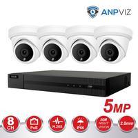 4CH Video Cameras System 5MP Turret IP Camera Outdoor Hikvision OEM 8CH 4K POE NVR CCTV Kit Email Alarm Night Vision