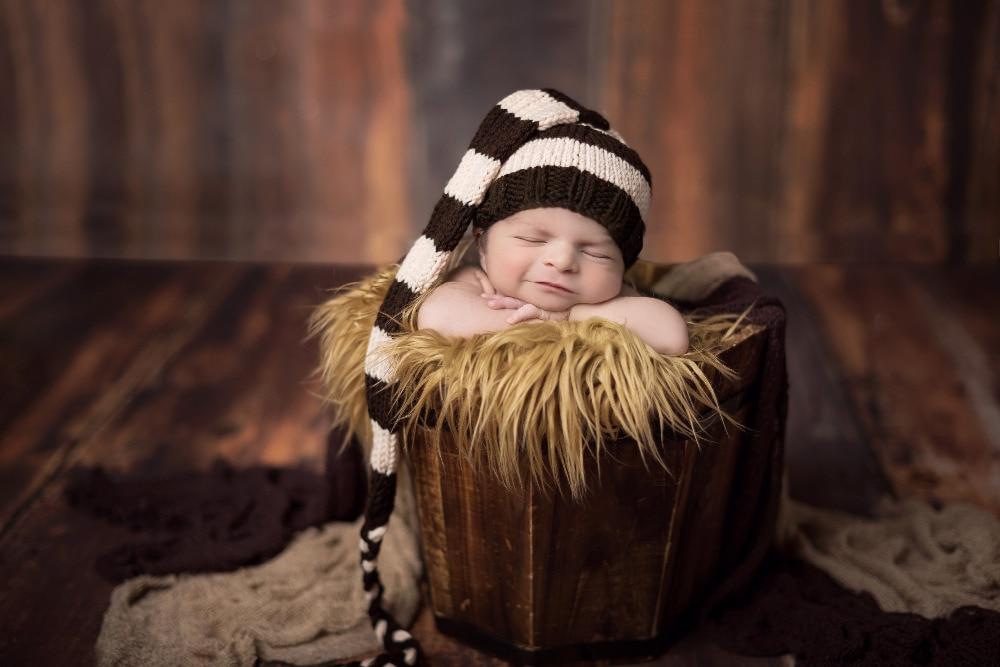 Gorro de sombrero de cola larga para niño hecho a mano para bebé, - Ropa de bebé