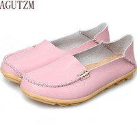 AGUTZM Summer Candy Colors Genuine Leather Women Casual Shoes 2018 Fashion Breathable Slip On Peas Massage