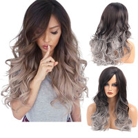 Long Loose Wavy No Lace Front Wig Curly Full Hair Wigs Women Black Gray Gradient Color