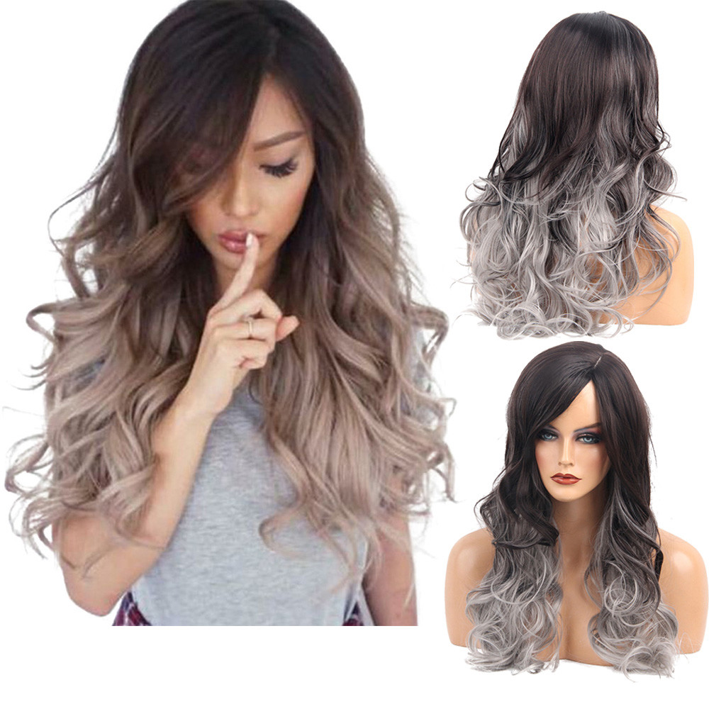 Long Loose Wavy No Lace Front Wig Curly Full Hair Wigs Women Black&Gray Gradient Color Curls hair set styling tools accessories rihanna hairstyle wigs red wine color curly synthetic hair wig salon full cap hair wigs