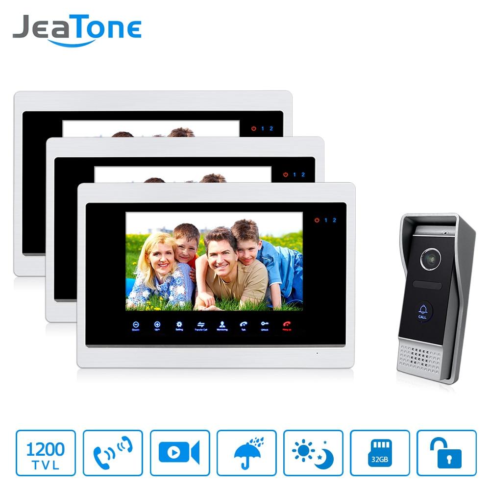 JeaTone 10 Inch LCD Video Door Phone Intercom System Door Unlocking Doorbell Camera Night Vision Home Security System