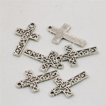 10PCS Accessories Copper Metal Lucky Cross Kaddish DIY Loose Finding Pendant Necklace Women Girl Jewelry Making Design 14x22mm image