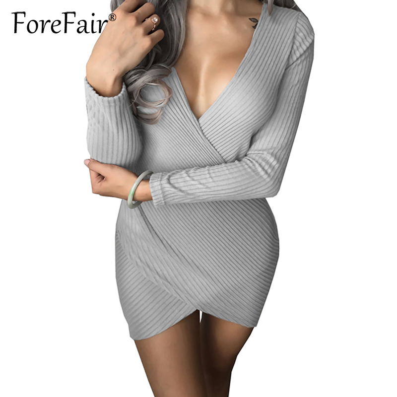 Forefair Fashion Slim Knitted Party Dresses Women Clothing 2018 Spring Long Sleeve Sexy Criss Cross V Neck Bodycon Dress Vestido
