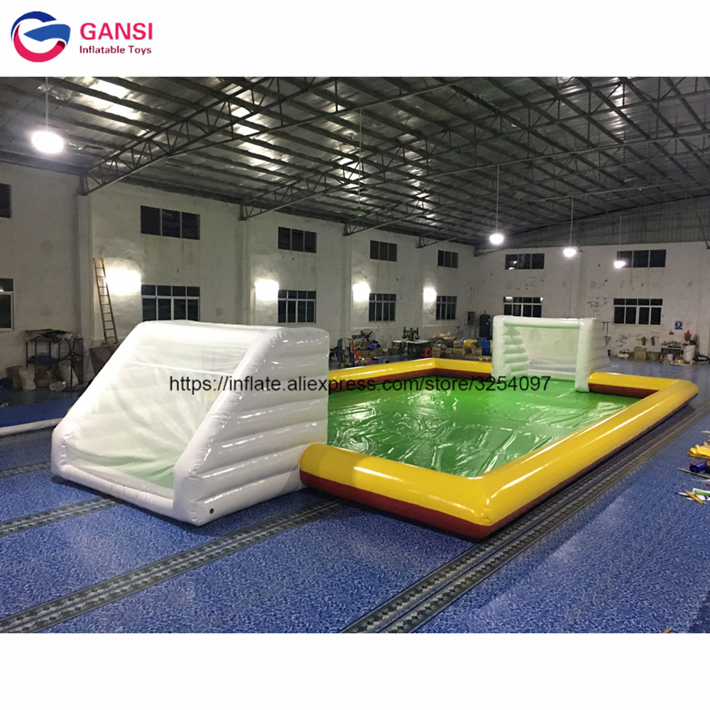 0.9mm PVC durable inflatable football field 13*6m factory direct sale inflatable soccer field for sport game with free air pump inflatable football field shooting soccer goal kicking gate game l6mxh3m for children kids party sport games toy