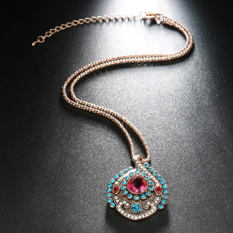 Kinel 3pcs Vintage nakit setovi za žene Antique Gold Pink Crystal - Modni nakit - Foto 4