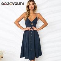 Gogoyouth Women Summer Dress 2018 Sexy Deep V Backless Midi Length Tunic Beach Dress And Sundress