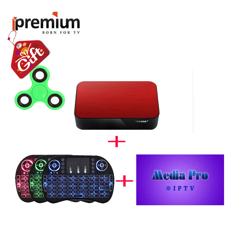 US $144 6 |Ipremium Avov TvOnline Android Tv Box With MediaPro Airmouse  Wireless Keyboard Arabic Europe Channels PK Mag 254 256 Iptv Box -in  Set-top