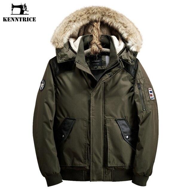 6ceedc0e58c Kenntrice парка мужская куртки бомбер меховой капюшон зима 2017 пиджак  мужской Анорак ветровки мужские Армия Анорак