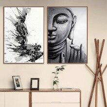 Черно-белый Принт Будды дзен чернила на холсте Современная живопись плакаты настенные художественные картины для гостиной Декор без рамки