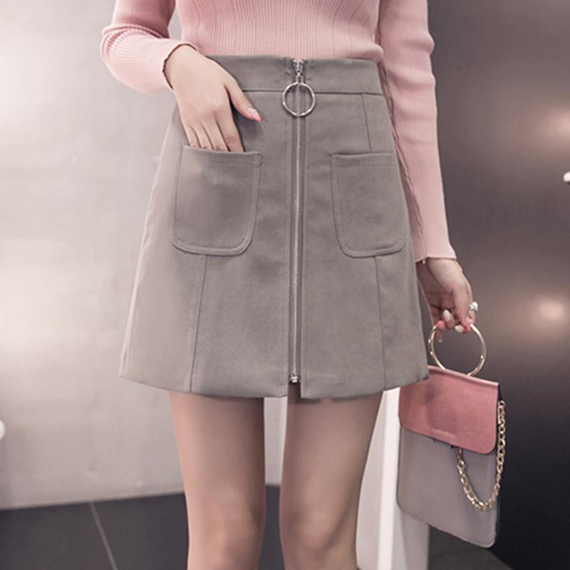 HTB1Om07czihSKJjy0Feq6zJtpXac - Suede Skirt Fashion High Waist Zippers JKP343