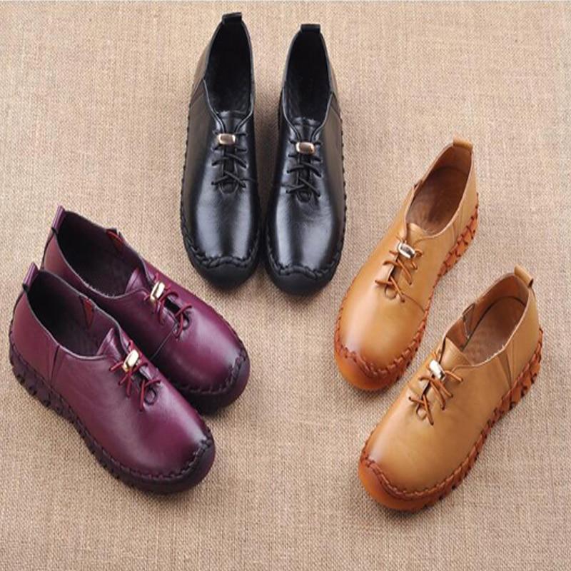CEYANEAO2018 Frühjahr Echtem Leder Frauen Schuhe Handgemachte Freizeitschuhe Frau Faulenzer
