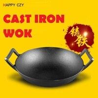 High quality 32CM Flat bottom cast iron old fashioned manual thickening cast iron wok no coating japanese wok chinese wok