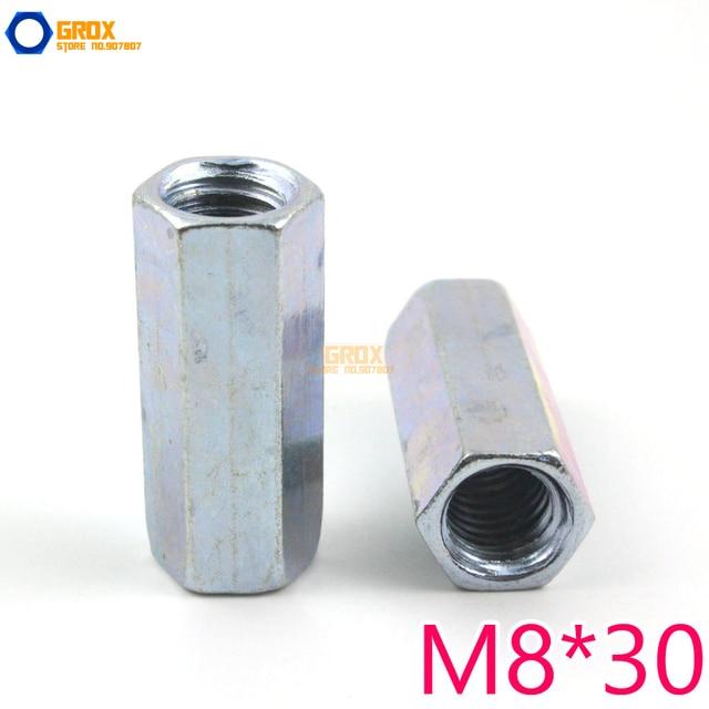 15 Pieces M8*30mm Hex Rod Coupling Nut Galvanized