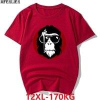 Для мужчин плюс размеры Большой животных 8XL 10XL 12XL футболки короткий рукав 9XL забавные летние хлопковые футболки темно синие футболка принт 54...