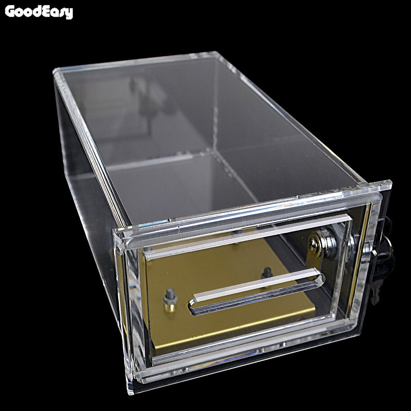 Transparent Acrylic Safe Box Poker Chips Bank Double Security Casino Money Tips Case Professional Gambler Coin