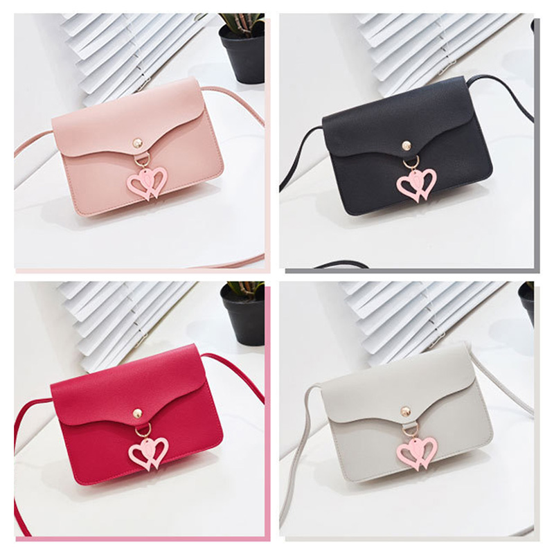 Women Shoulder Bag PU Leather Hearts Decor Phone Pouch Girl Casual Messenger Crossbody Bags OPK in Top Handle Bags from Luggage Bags