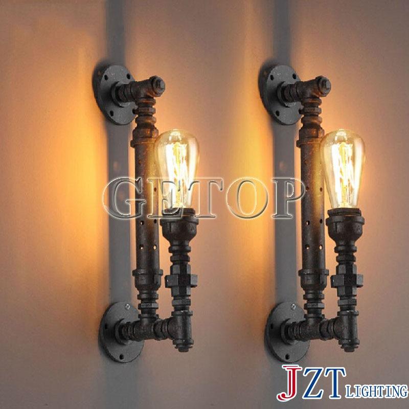 ФОТО J best price pipe wall lamps American industrial light restoring ancient lamp European creative stair lamp water pipe lamp