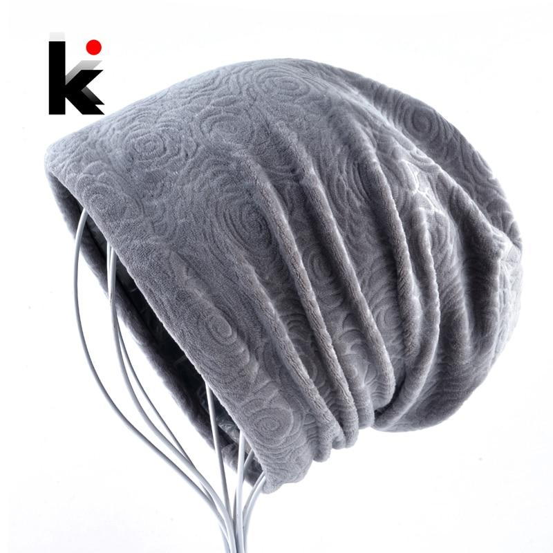 Women's New Fashion Beanie Winter Embossing Flower Velvet Hat For Women Double Layer Thick Skullies Beanies Ladies Warm Bonnet