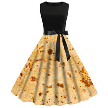Women Vintage 1950s Sleeveless Burrito Tortilla Printing Party Prom Swing Dress платье платье женское vestidos Women(China)
