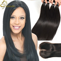 Miss Lula Hair Products Peruvian Straight Hair Lace Closure WIth Bundle Straight Weave With Closure 8A Bundle Deals With Closure