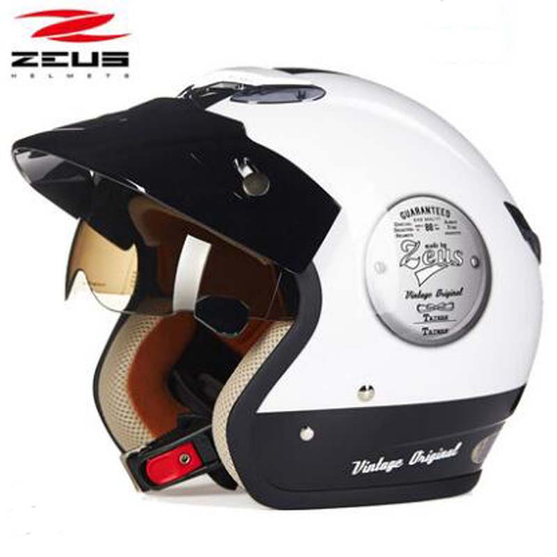 ZEUS NEW 3/4 Half face Motorcycle Helmets Retro Moto Casque Scooter Capacete Open Face Electric Motorbike Helmet with Sunglasses цена