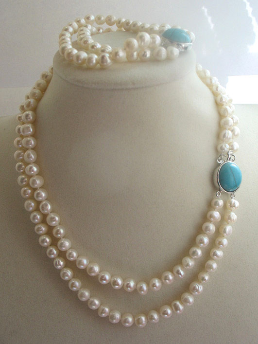 2ROWS  freshwater pearl WHITE NEAR ROUND  7-8MM  necklace bracelet  17-18inch FPPJ wholesale beads nature 2ROWS  freshwater pearl WHITE NEAR ROUND  7-8MM  necklace bracelet  17-18inch FPPJ wholesale beads nature