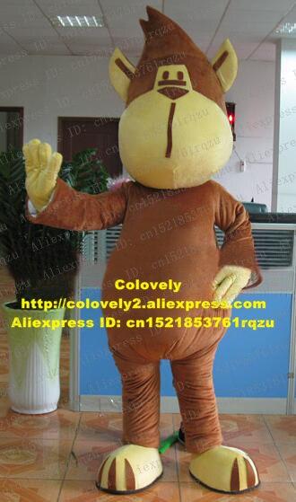 Waggish Brown Monkey Ape Simian Mascot Costume Cartoon Character Mascotte Adult Yellow Fat Mouth Shoes Small Eyes No.zz2521 Fs Mascot