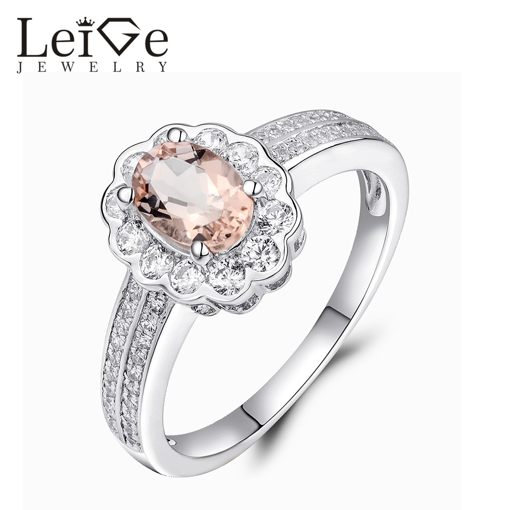 Leige Jewelry Oval Cut Natural Morganite Ring Pink Gemstone Pure 925 Sterling Silver Wedding Rings for Women Fine JewelryLeige Jewelry Oval Cut Natural Morganite Ring Pink Gemstone Pure 925 Sterling Silver Wedding Rings for Women Fine Jewelry