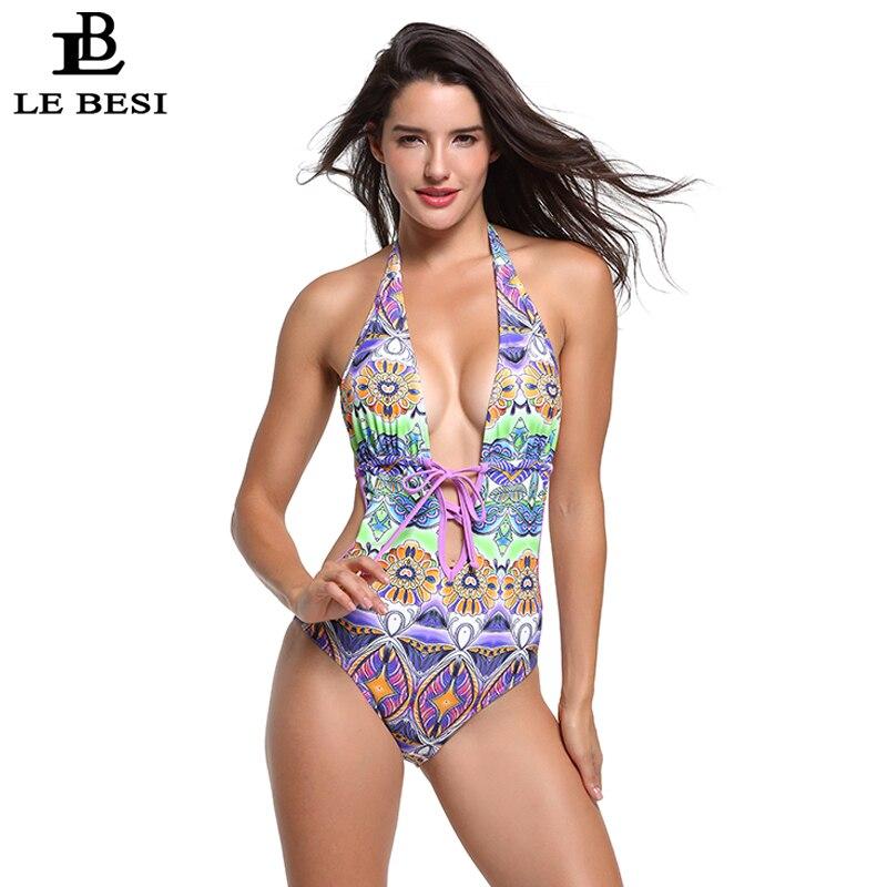 LEBESI 2018 Sexy Deep V Women One Piece Swimsuit Print Bodysuit Bandage Push Up Bathingsuit Plus Size Swimwear Backless Monokini
