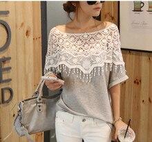 2014 summer new womens sweet lace crochet bat shirt short-sleeved round neck sleeve T-shirt thin influx of women