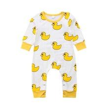 6b138c373 0-24 m bebé recién nacido chico chica ropa linda de algodón pato amarillo  de algodón mameluco mono traje de ropa infantil