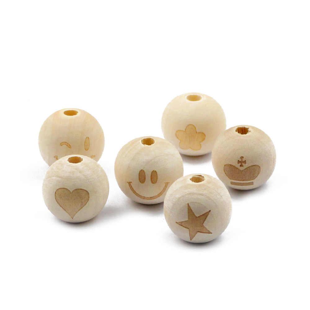 Jhnby 10 Pc/lot 20 Mm Bulat Kayu Alami Manik-manik Wajah Tersenyum Heart Star Baby Teether Anak Tumbuh Gigi Manik-manik Kayu untuk membuat Perhiasan