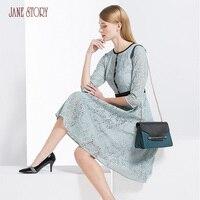 Джейн Story 2018 новые весенние Дизайн женское платье три четверти рукавами и круглым вырезом кружевное платье с цветочным принтом Офисные женс